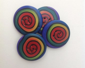 beautiful rainbow swirl buttons