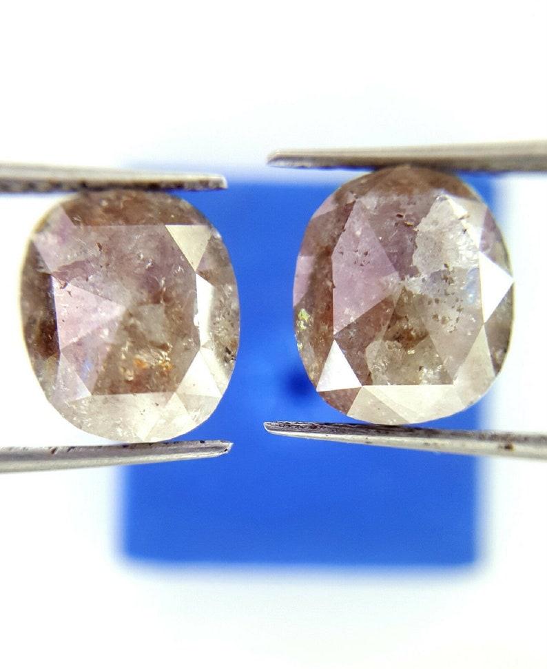 Natural Diamond Pair 3.44TCW Brownish Gray Diam Oval Diamond Pair Rose cut Diamond Rustic Diam Rough Diam Raw Diam Fancy Diam Cabochon