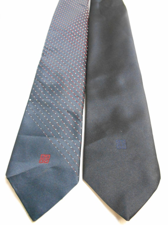 2 Givenchy Blue Neckties 1960's and 1970's