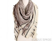 Ivory Brown Blanket Scarf, Silky Feel, Blanket Scarf, Square Scarf
