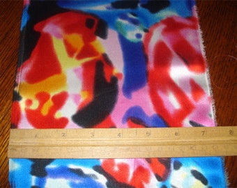 100% Silk Charmeuse Prints - Blurry Red/Blue