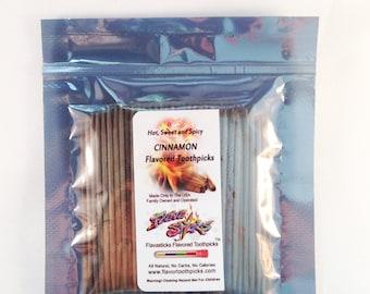 100 Count FlavaSticks Cinnamon Wood Flavored Toothpicks Bulk Bag