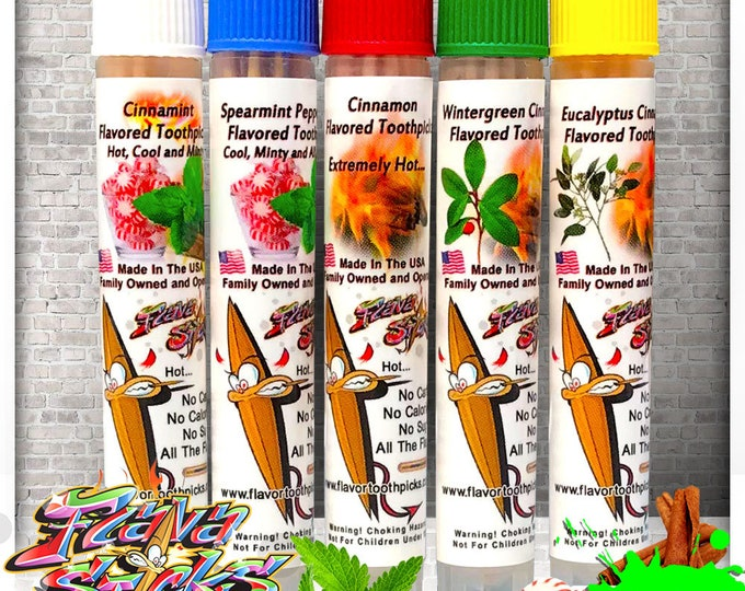 Featured listing image: 5 Flavored Wood Toothpick Sampler Packs in Reusable Plastic Tubes