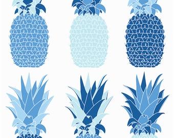 Pinepple Blue Screenprint