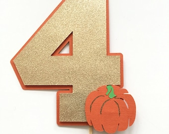 Pumpkin Cake Topper! Birthday Party Cake Topper- Pumpkin Theme Party- Fall Birthday