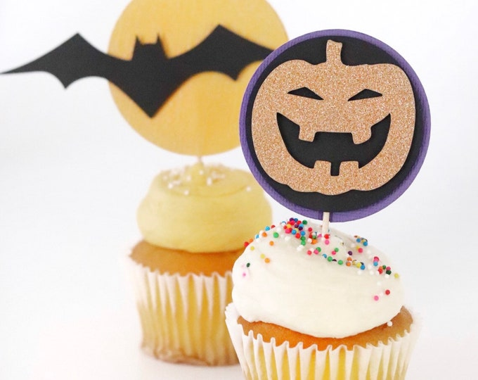 Featured listing image: Halloween Cupcake Toppers! Glitter Jackolanterns- Moon and Bats Cupcame Toppers- Halloween Party Decor