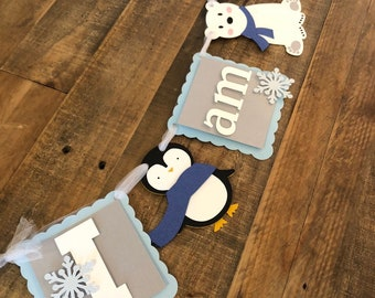 Winter First Birthday Highchair Banner Polar Bear & Penguin Party- Frozen Winter Birthday