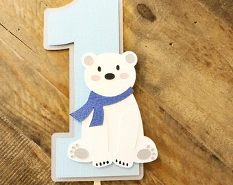 Polar Bear Smash Cake Topper! Winter First Birthday Party Cake Topper- Winter Polar Bear Cake Topper- Onederland First Birthday
