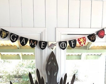 Game of 30's Banner- House Stark, Targaryen, Lannister, Greyjoy- Game of Thrones Party- 30th Birthday Party