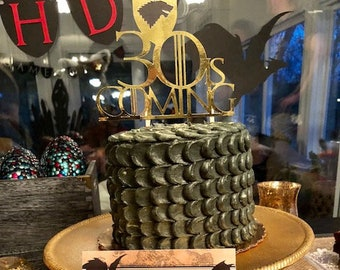 Game Of Thrones Cake Topper House Stark Birthday 30 Is Coming 30th Party