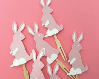 Bunny Cupcake Toppers- Easter Bunny- Spring Party Easter Decorations- Bunny Cupcakes-Bunny Birthday Party- Bunny Baby Shower