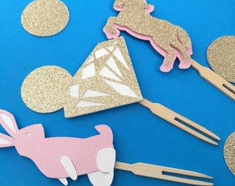 Unicorn, Bunny, and Diamond Cupcake Toppers- Unicorn Party- Unicorn Cupcakes-Unicorn Birthday Party-Unicorn and Bunny Baby Shower