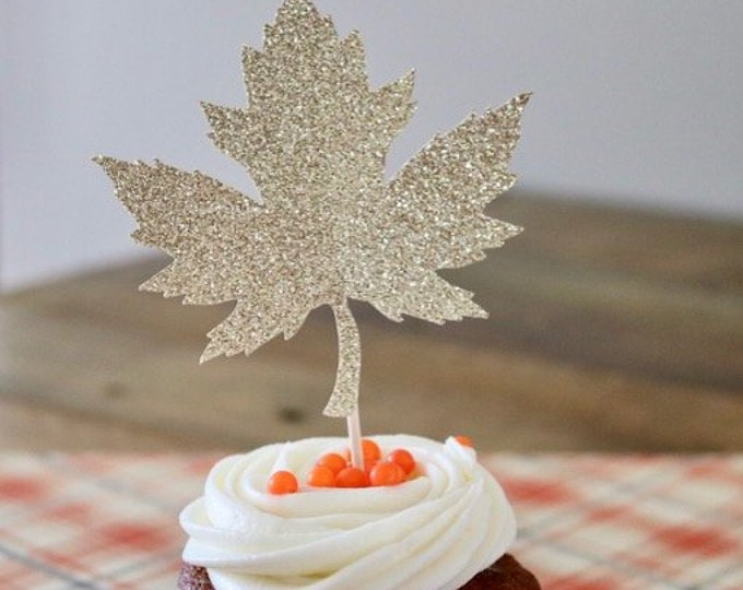 Featured listing image: Fall Cupcake Toppers- Fall Leaf Cupcake Toppers