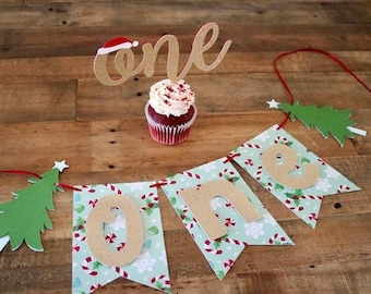 Holiday ONE Banner- Winter Birthday Party- Winter First Birthday-Candy Cane Party
