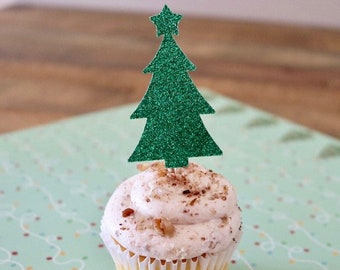 Christmas Tree Cupcake Toppers- Holiday Party Cupcake Toppers- Glitter Trees!