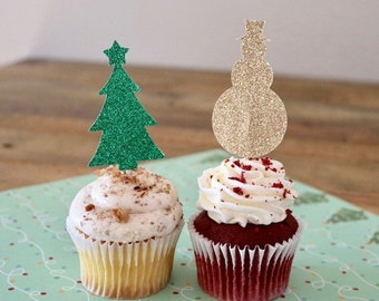 Christmas Cupcake Toppers- Holiday Party Cupcake Toppers- Glitter Snowmen and Trees!
