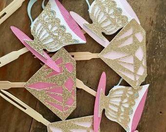 Bridal Tea Party Cupcake Toppers!Pink and Gold Glitter! Bridal Shower- Cupcake Toppers- Tea Party