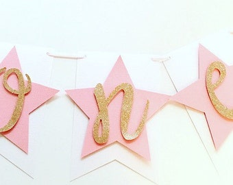 Twinkle Little Star Highchair Banner! First Birthday Banner- ONE with Stars, Star First Birthday Party