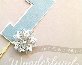 Onederland Smash Cake Topper! First Birthday Party Cake Topper- Winter Snowflake Cake Topper- Onederland First Birthday