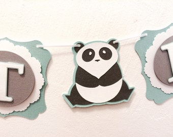 Panda Sweet Baby Banner- Baby Shower or Nusery Banner- Teal, Grey, & White