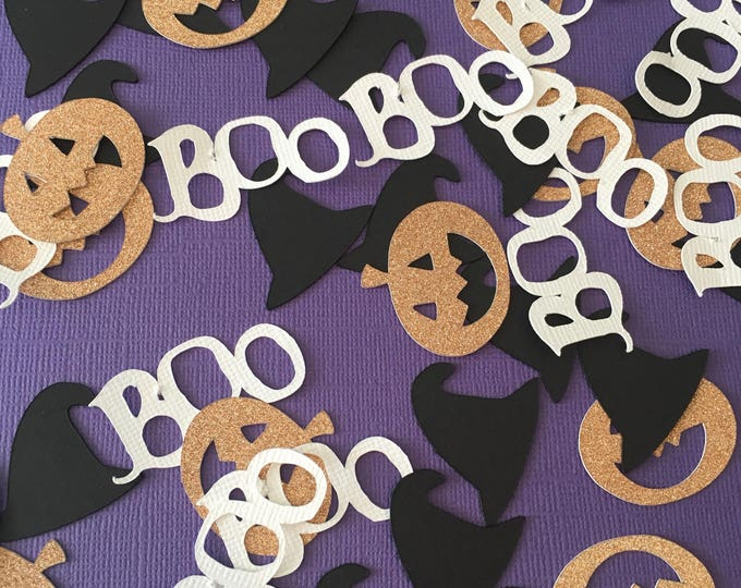 Featured listing image: Halloween Confetti- Halloween Party Confetti-  Glitter Pumpkin Confetti-Witch Confetti-Halloween Birthday- Fall Party Confetti