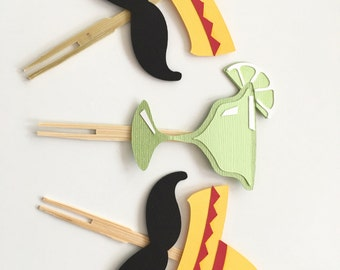 Set of 10 Fiesta Cupcake Toppers! Sombrero & Mustache Toppers- Maragrita Toppers- Summer Fiesta Party