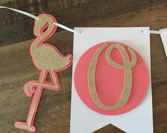 Flamingo First Birthday Highchair Banner- Luau First Birthday Party, Gold Glitter Flamingos- one Highchair Banner!