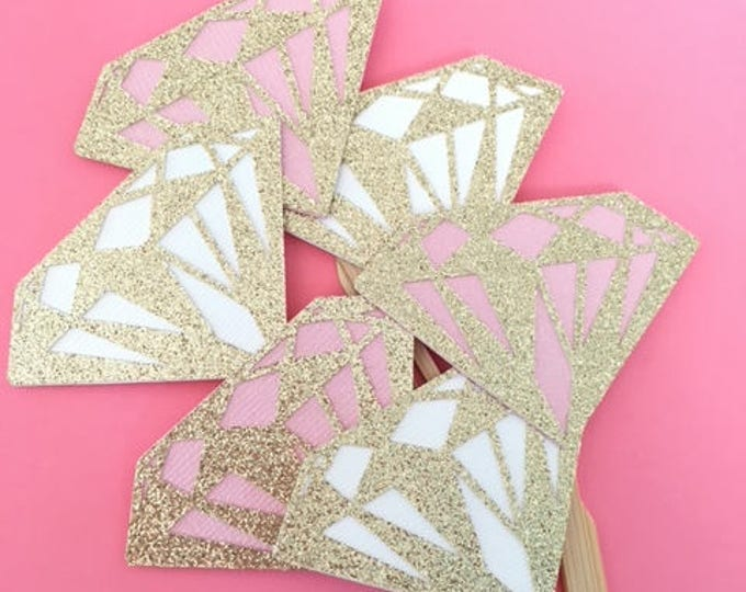 Featured listing image: Bridal Shower Cupcake Toppers! Pink, Baby Pink and Gold Glitter! Bridal Shower- Cupcake Toppers- Bachlorette Cupcake Toppers