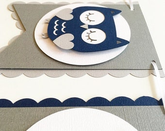 It's A Boy Owl Banner! Baby Shower or Gender Reveal Banner! Navy, Grey, and White!