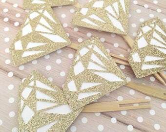 Bridal Shower Cupcake Toppers! White and Gold Glitter! Bridal Shower- Cupcake Toppers- Bachlorette Cupcake Toppers