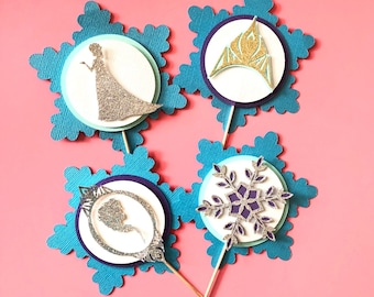 Frozen Cupcake Toppers! Frozen Birthday Party- Set of 10 Cupcake Toppers- Elsa Birthday Party