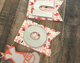 Fox HighChair Banner- Fall First Birthday High Chair Banner- Fall Fox One Banner- Glitter ONE Banner