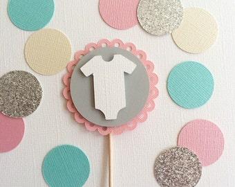10 Baby Onsie Cupcake Topper- Baby Girl, Baby Shower Cupcake Topper