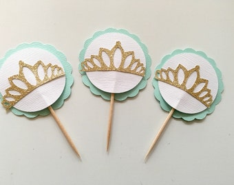Set of Ten Tiara Cupcake Toppers! Princess Party- Mint, White, and Good Glitter!