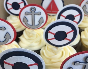 Set of 15 Nautical Cupcake Toppers! Sailboat, Life Float, and Anchor! Nautical Baby Shower, Nautical Birthday Party!