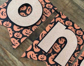Pumpkin Halloween HighChair Banner- First Birthday High Chair Banner- Jack-O-Latern Halloween One Banner- ONE Banner