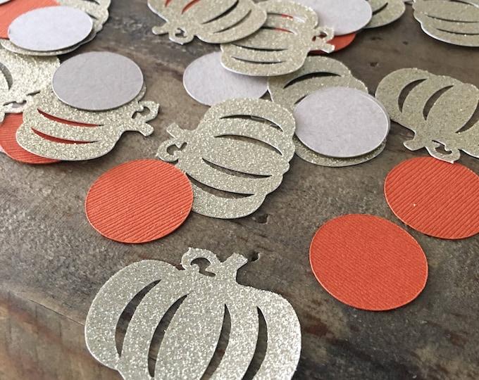 Featured listing image: Pumpkin Confetti- Fall Pumpkin Confetti- Gold Glitter Pumpkin Confetti-Fall Birthday- Fall Party Confetti