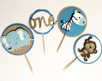 Set of 20 Safari First Birthday Cupcake Toppers- Monkeys, Zebras, and Elephants- Gold Glitter