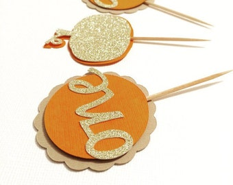 "Set of 10 Pumpkin First Birthday Cupcake Toppers! Gold Glitter ""One"" and Pumpkins- Pumpkin First Birthday Party!"
