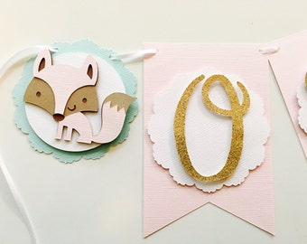 Fox Highchair Banner- Fox First Birthday party- One Highchair Banner with Gold Glitter and Foxes- Pinn Fox Party