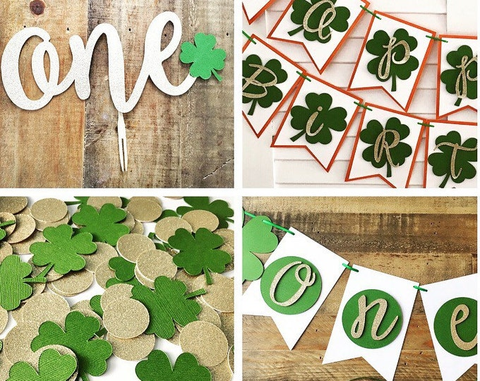 Featured listing image: St Patrick's Day First Birthday Party Set! Irish Birthday with Four Leaf Clovers-Happy Birthday Banner, Highchair Banner, Confetti, Cake Top