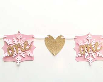 First Birthday Snowflakes and Hearts Highchair Banner! Pink and Gold Glitter!