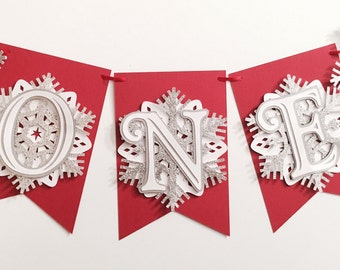Snowflake First Birthday Highchair Banner! Onederland Party, Red, Silver Glitter, and White- Frozen Winter Birthday
