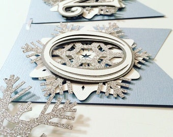 Snowflake First Birthday Highchair Banner! Onederland Party, Blue, Silver Glitter, and White- Frozen Winter Birthday