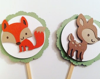 Set of 10 Woodland Animal Cupcake Toppers! Baby Deer and Fox Cupcake Toppers- Woodland Animal Baby Shower or Birthday