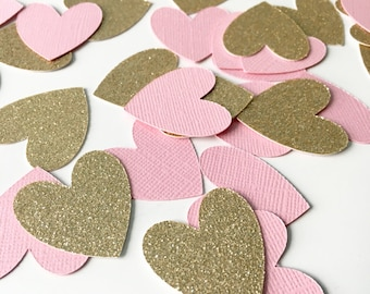 100 Piece Heart Confetti! Birthday Party, Bridal Shower, Engagment, Anniversay Party- Pink and Gold Glitter Heart Confetti