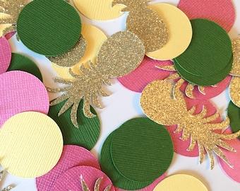Pineapple Confetti! Luau Confetti- Birthday Party Confetti- Gold Glitter Confetti