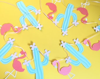 Flamingo and Cactus Garland- Fiesta Party, Lua Party- Party Garland-Flamingo Party