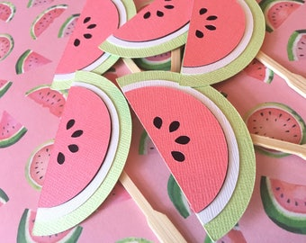 Watermelon Cupcake Toppers! Watermelon Party- Summer Cupcake Toppers- Watermelon Birthday Party
