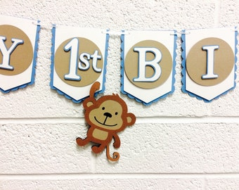Monkey First Birthday Banner! Happy 1st Birthday! Blue, Tan, and White